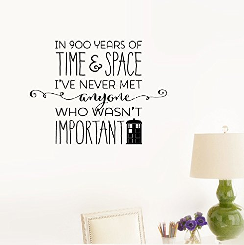 Smoothdecals Wall Sticker Quote in 900 Years of time & Space I've Never met Anyone who Wasn't Important -Dr. Who Vinyl Wall Decal Inspirational Motivational for Bedroom Living Room ()