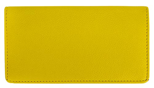 Yellow Textured Leather Checkbook Cover