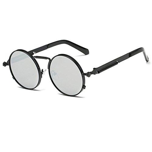 UV400 Eyewear y de Kennifer Sol Negro Espejo Para de Mujeres Gafas Metal Redondas Marco Gafas Círculo Hombres Plateado Ronda 8q8C7Z