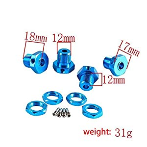 CUHAWUDBA RC Car Alum Wheel Hub Nuts 17mm Hex Nuts Threadlock Replace 5353 for E-REVO Off-Road Climbing Car-Red