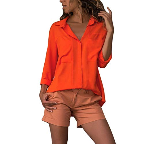 [S-XL] レディース Tシャツ ラペル ポケット 無地 シフォン シャツ 長袖 トップス おしゃれ ゆったり カジュアル 人気 高品質 快適 薄手 ホット製品 パーティー 通勤 通学