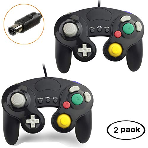Gamecube Controller, Compatible with Gamecube/Wii U/Wii/PC/Switch Controller, 2 Packs Classic Wired Gamecube Controller for Super Smash Bros with Turbo Function(2 Black)