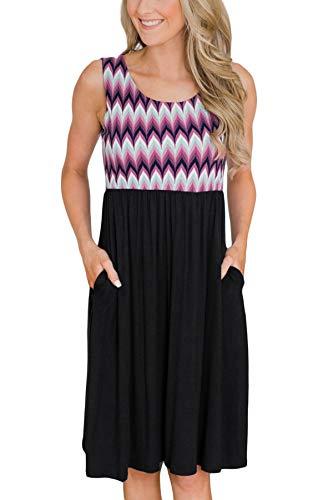 (Womens Color Blocked Sleeveless Beach Midi Tank Dress Pocket Swing Casual Sundress Chevron Printed M Purple)