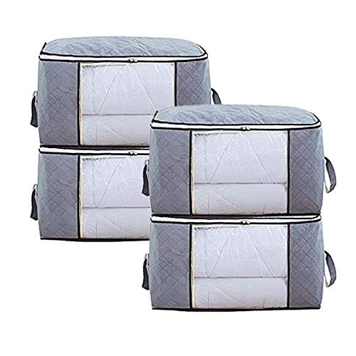 Olivachel Foldable Storage Bag Organizers, Large Clear Window & Carry Handles, Plus Size Zippered Bags for Clothes, Blankets, Closets, Shelves, Bedrooms (Grey, 4 Pack)