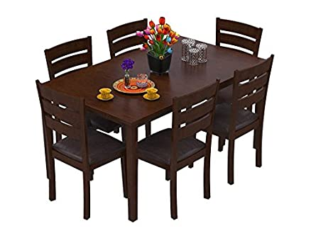 forzza kyoto six seater solid wood dining table set brown oak