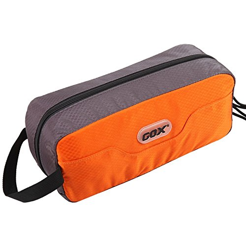 GOX Premium Toiletry Bag, Dopp Kit Case For Travel, Multifunction Cosmetics Organizer Pouch (Orange/Grey)