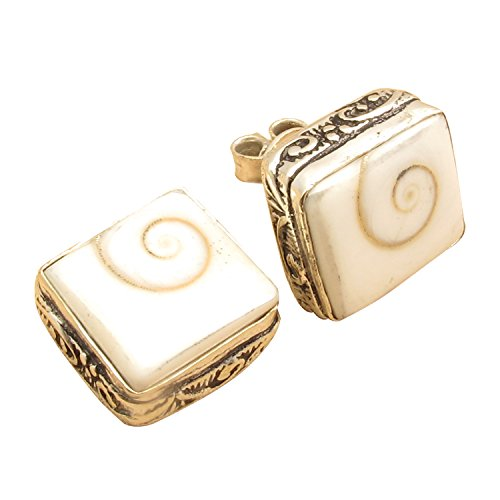 Square GEMSTONE Studs ! 925 Sterling Silver Plated HAND CARVED Ethnic Earrings ! Girls' Jewelry (Eye International)