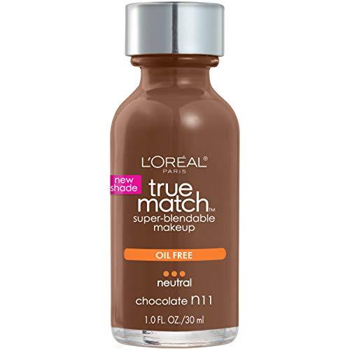 L'Oreal Paris Makeup True Match Super-Blendable Liquid Foundation, Chocolate N11, 1 Fl Oz,1 Count