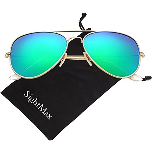 SightMax Polarized Male Female Aviator Sunglasses Flash Mirror UV400 (Silver Frame/Green Lens)