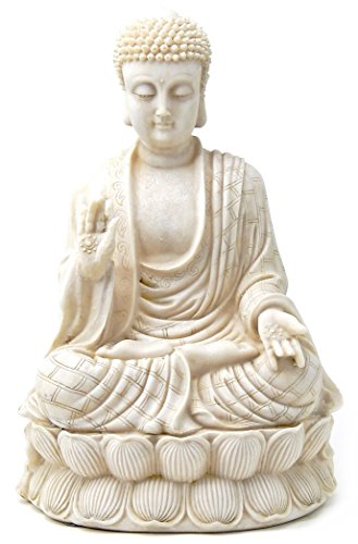 Meditating Blessing Buddha Statue Antique White Polystone