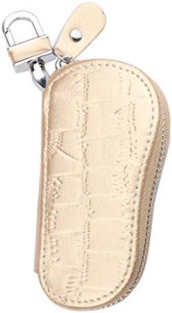 HOUYAZHAN Unisex Lederwaren Naturleder einfache Form Taille Reißverschluss Autoschlüssel Tasche (Farbe : Gold)