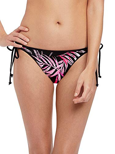Freya Sunset Palm Rio Side Tie Bikini Bottom, XS, Black Tropical