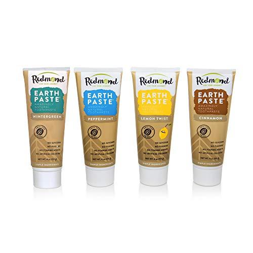 Redmond Earthpaste Natural Non-Fluoride Toothpaste, 4 Pack (Lemon, Wintergreen, Cinnamon, Peppermint)