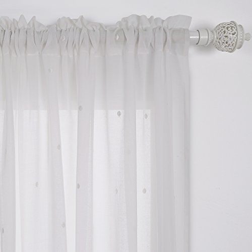 Deconovo Curtains Embroidered White Dot Curtains Faux India Cotton White Rod Pocket Curtains 52W x 84L Inch White 1 - Rod Polka Dot