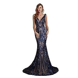 Style D (Navy) Long Sequin Mermaid Dress Sleeveless