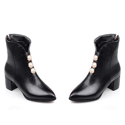 AgooLar Women's Pointed Closed Toe Kitten-Heels Soft Material Low-Top Solid Boots Black jsuKwPLq8z