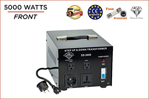 Dynastar Step Up & Step Down Voltage Converter and Transformer, 110-220 to 220-240 Volts; Heavy Duty, Extra Durable Lifetime Coil, 5-Year-Warranty, 5000 Watts by International Diamond Series