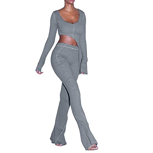Women Fall Winter Rib Knit Pullover Sweater Top Long Flare Pants Set 2 Piece Outfits Sweatsuits Tracksuit