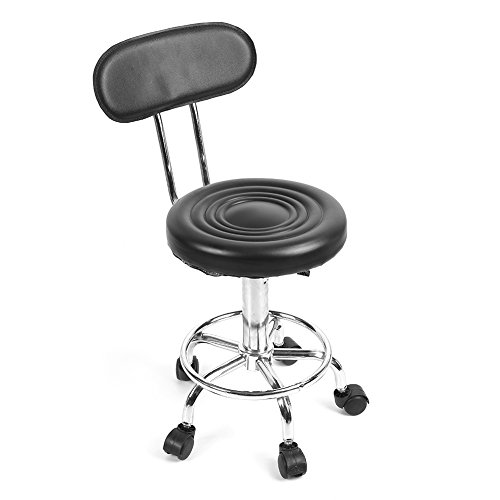 Round Rolling Stool Chair, Height Adjustable Swivel Hydraulic Heavy Duty Drafting Tattoo Massage SPA Salon Stool with Wheels and Back Rest for Home Kitchen Office Clinic Medical Lab (Black)