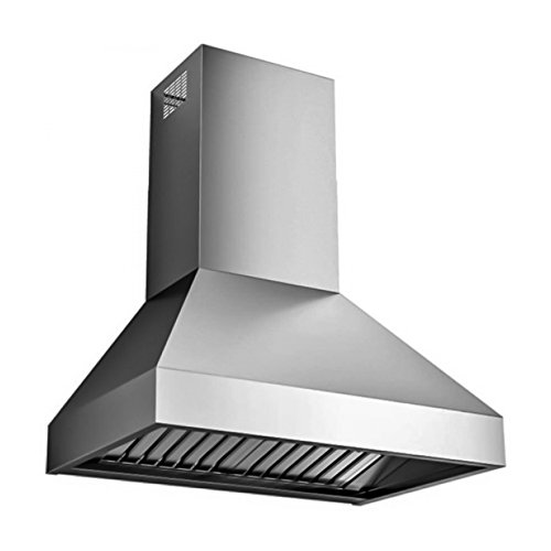Futuro Futuro Livorno 36 Inch Island-mount Range Hood, Stainless Steel, Professional Style, LED, Ultra-Quiet, with Blower (Range Hood Professional Blower)