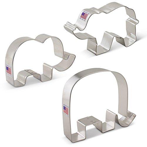 Elephant Cookie Cutter Set - 3 piece - Ann Clark - Tin Plated Steel