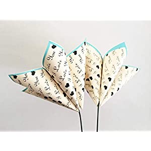 """Set of 2""""I Love You"""" paper flowers- wedding decor, anniversary gift, date night, origami, heart 3"""