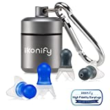 Ikonify Noise Cancelling Ear Plugs - 2 Pairs Set Reusable Earplugs for Concerts, Musicians, Sleeping, Working, Studying and Air Travelling - Premuim Box with carabiner
