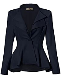 Women Double Notch Lapel Sharp Shoulder Pad Office Blazer