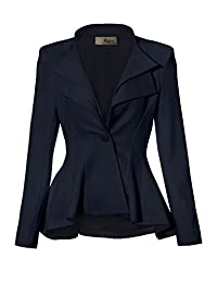 Hybrid & Company Women Double Notch Lapel Office Blazer JK43864 1073T Navy 2X