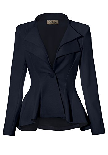 (Women Double Notch Lapel Office Blazer JK43864 1073T Navy Large)