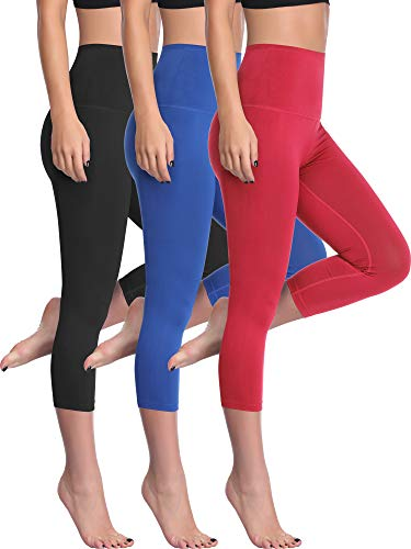 Cadmus Women's Workout Capris Yoga Legging with Hidden Pocket,1002,Black & Blue & Red,Large ()