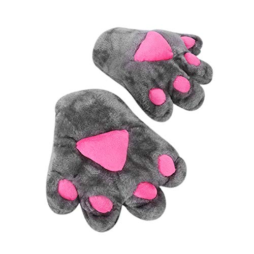 Women Winter Cat Paw Bear Claw Gloves Halloween Cosplay Plush Animal Paw Mitten Gloves