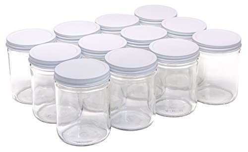 North Mountain Supply 16 Ounce Glass Wide Mouth Straight-Sided Canning Jars - with White Metal Lids - Case of 12 ()