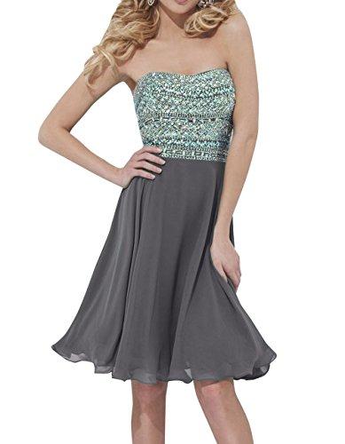 mia Partykleider Knielang Grau mit Abendkleider Elegant Zahlreichen Steine Kurzes La Kleider Jugendweihe Cocktailkleider Brau dgwYqYf