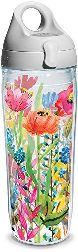 (Tervis 1208550 Watercolor Wildflowers Wrap Water Bottle with Grey Water Bath Lid, 24 oz, Clear)