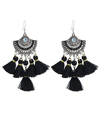 Young & Forever Women's Boho Gypsy Black Bohemian Tassel Cubic Zircon Earrings by Young & Forever