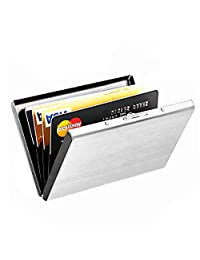 Maxgear High-Grade RFID Metal Business Card Holder Case for Bank Cards & ID Cards, Prevent Electronic Credit Card Scan Theft, Awesome Gift, Silver