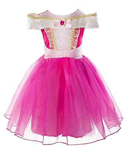 Okidokiyo Little Girls Princess Aurora Costume Halloween Party Dress Up (Knee Length, 3-4 Years)]()