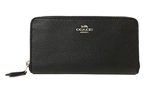 Coach Pebble Leather Accordion Zip Around Wallet (SV/Black), - Leather Black Pebble Coach