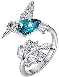 925 Sterling Silver Ring Hummingbird Swarovski Crystals Rings Open Expandable Green Jewelry for Women