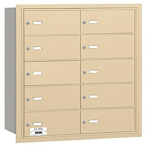 Salsbury Industries 3610SRU 4B Plus Horizontal Mailbox, 10 B Doors, Rear Loading, USPS Access, Sandstone