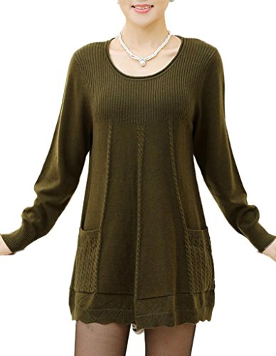Women's Loose Sweater Solid Dress Plus Size Pickles green X-Large