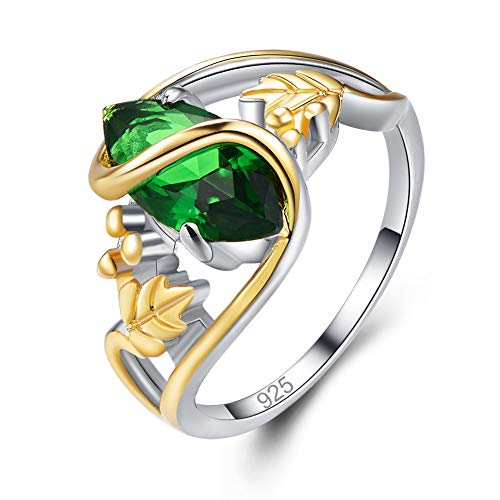 Humasol 925 Sterling Silver Filled Marquise Lab-Created Emerald 2 Tone Leaf Ring Band for Women