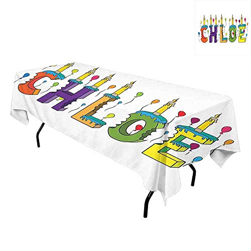 Chloe,Wrinkle Free Anti-Fading Tablecloths,Lettering with Cheerful Bitten Cake Candles Girly Birthday Party Design First Name,for Outdoor and Indoor Use,W60 x L102 Inch Multicolor