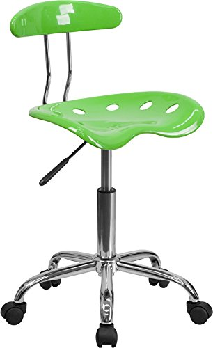 Vibrant Apple Green and Chrome Task Chair with Tractor Seat