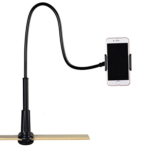 Flexible Phone Stand with Clamp Mount for iPhone and Samsung,Weifan Long Arm Aluminum Gooseneck 360 Rotating Bracket Universal Lazy Phone Holder for CounterTop,Bed or Desk(Black)