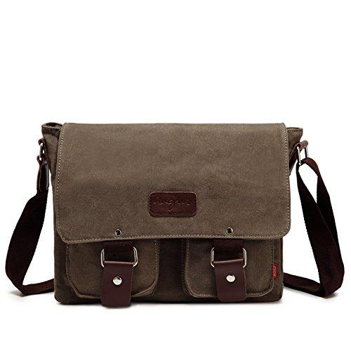 Sechunk Men's Shoulder Bag Canvas Retro Messenger bags for Leisure Travel (Cotton Leather Messenger Bag)