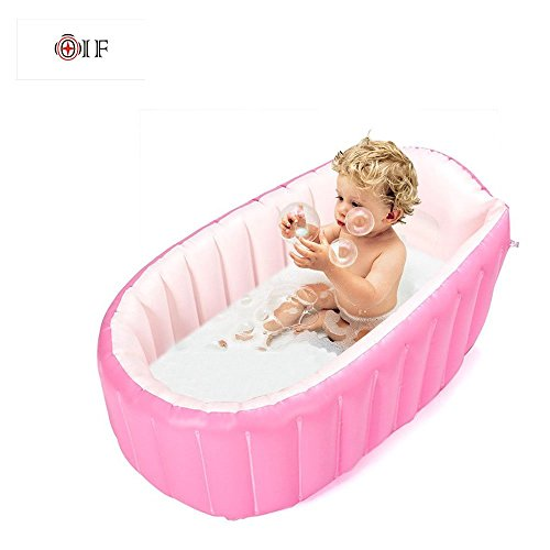 Inflatable Baby Bathtub,OIF Portable Kid Infant Toddler Thick Soft Cushion Air Swimming Pool Central Seat