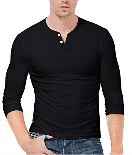KUYIGO Mens Casual Premium Slim Fit Henley Shirts Lightweight Black Shirts(Small, Black)