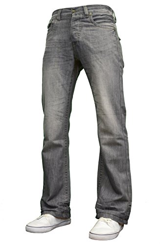 Flared Jeans Cut Pants - APT Mens Designer Branded Basics Regular Fit Bootcut Jeans, 28